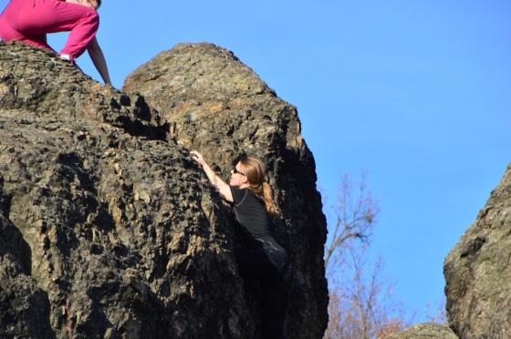 Michelle beim Klettern
