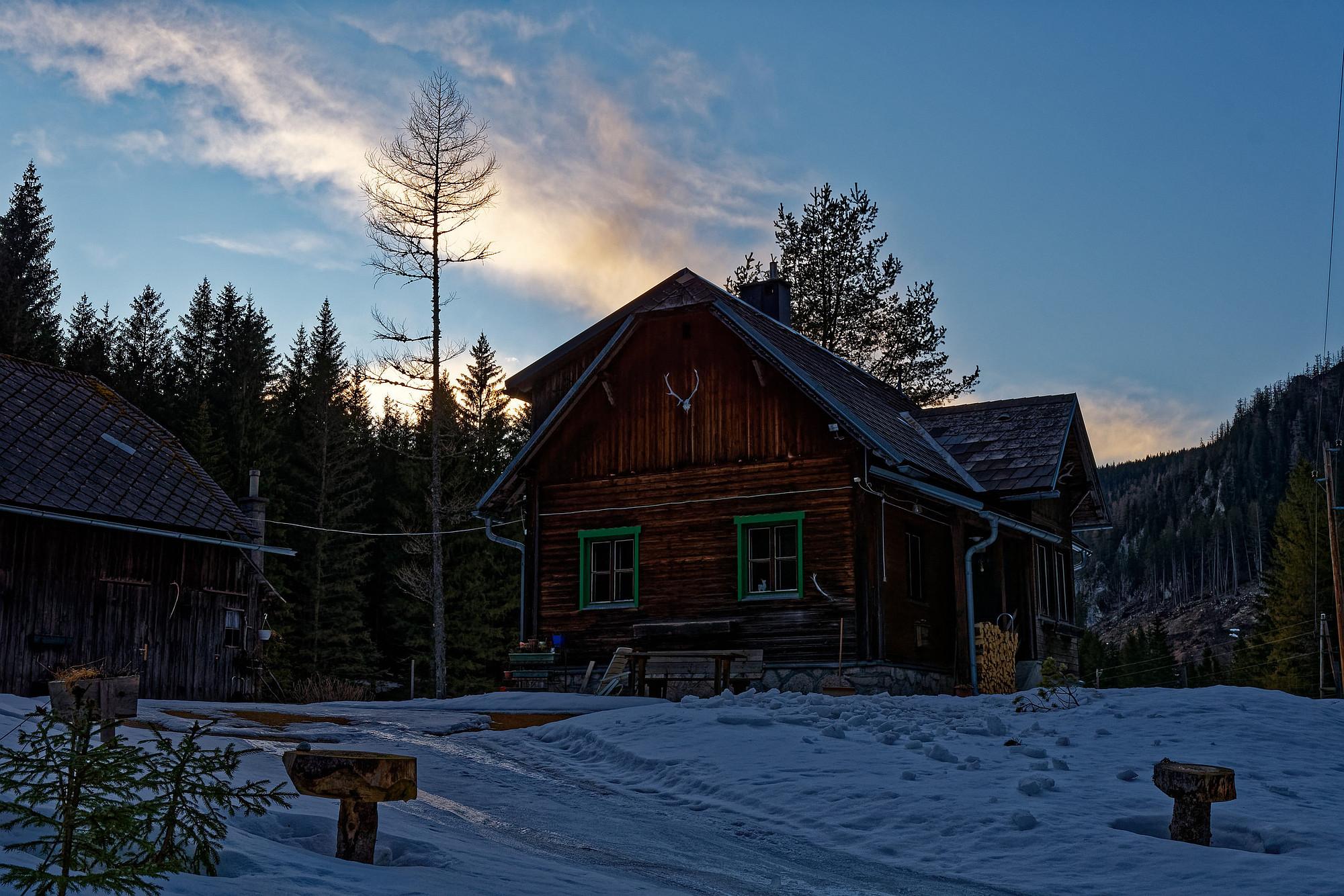 jagdhütte in abendstimmung kalte mürz 2021-03-06