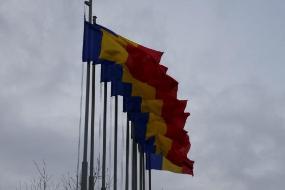 rumänische flaggen in cluj